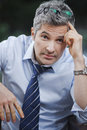 Portrait businessman looking worried looking camera Stock Images