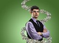 Portrait of businessman with money vortex Royalty Free Stock Photo