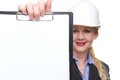 Portrait of a businesswoman in hardhat holding clipboard empty isolated on white Stock Image