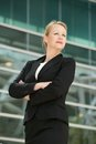 Portrait of a businesswoman posing outside office closeup building Stock Images