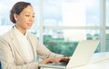 Portrait businesswoman working laptop Stock Images