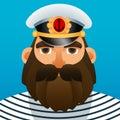 Portrait of captain. Cartoon image.