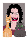 A portrait caricature of a woman and her two cats Stock Image