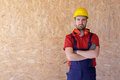 Portrait of a carpenter with wooden thermal insulation material Royalty Free Stock Photo