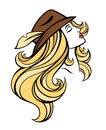 portrait of cartoon pretty fashion girl with long hair in brown hat  on white. Royalty Free Stock Photo