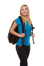 Portrait casual blond smiling girl female student with bag backpack isolated of in blue jeans on white education and college Royalty Free Stock Image