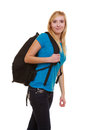 Portrait casual blond smiling girl female student with bag backpack isolated of in blue jeans on white education and college Royalty Free Stock Photos