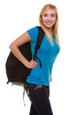 Portrait casual blond smiling girl female student with bag backpack isolated of in blue jeans on white education and college Stock Photos