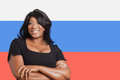 Portrait of casual mixed race woman over russian flag Royalty Free Stock Photos