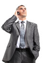 Portrait of Caucasian business man using cellphone Royalty Free Stock Photography