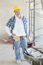 Portrait of a Caucasian male construction worker smiling Stock Images