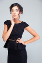 Portrait of a charming woman in black dress Royalty Free Stock Photo