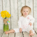 Portrait of cheerful baby girl with down syndrome Royalty Free Stock Image