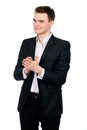 Portrait of cheerful businessman in a suit with his hands joined Royalty Free Stock Photos