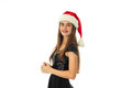 Portrait of cheerful cutie girl in santa hat Royalty Free Stock Photo