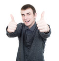 Portrait of cheerful guy showing thumbs up isolated on white Stock Photo