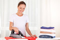 Portrait of cheerful housewife ironing clothes. Royalty Free Stock Photo