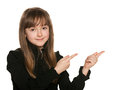 Portrait cheerful young girl black makes hands gesture Royalty Free Stock Photo