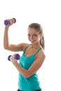 Portrait of cheerful young girl lifts dumbbells isolated on white Royalty Free Stock Photo