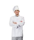 Portrait of chef cook with arms crossed isolated on white Royalty Free Stock Image