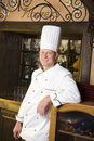 Portrait of chef in restaurant a smiling male the Royalty Free Stock Image