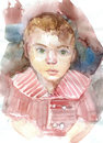 Portrait child drawn by watercolors on white paper Stock Images