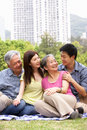 Portrait Of Chinese Parents With Adult Children Royalty Free Stock Photos