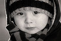 Portrait close up of boy in black and white Royalty Free Stock Images