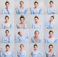 stock image of  Portrait collage of girl with different facial expressions
