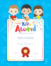 Portrait colorful kids award diploma certificate template in car