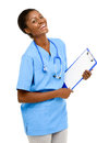 Portrait confident African American female doctor white backgrou Royalty Free Stock Photo