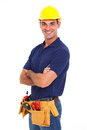 Portrait confident handyman crossed arms isolated white Stock Photos