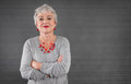 Portrait of confident senior lady gray haired Royalty Free Stock Image