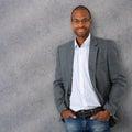 Portrait of confident and trendy black businessman