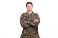 Portrait of a confident young soldier posing with arms crossed Royalty Free Stock Photos