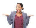 Portrait of a confused woman with hands up gesture closeup Stock Image