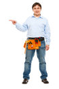 Portrait of construction worker pointing on side Stock Photography