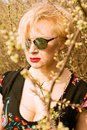Portrait of cool fashionable woman wearing shades Royalty Free Stock Photo