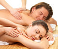 Portrait of a couple getting a romantic massage Royalty Free Stock Images