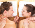 Portrait of a couple getting a romantic massage Stock Photo
