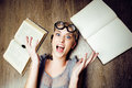 Portrait of crazy student girl in glasses with books and cockroaches, concept of modern education people, lifestyle Royalty Free Stock Photo