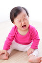 Portrait of crying baby girl Royalty Free Stock Photos