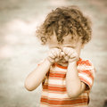 Portrait of a crying child Royalty Free Stock Images