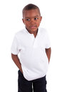 Portrait of a cute african american little boy black people isolated on white background Royalty Free Stock Photos
