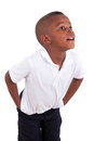 Portrait of a cute african american little boy black people isolated on white background Royalty Free Stock Photography