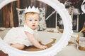 Portrait Of A Cute Baby Girl W...