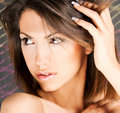 Portrait of a cute brunette with brown eyes Royalty Free Stock Photo