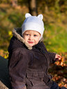 Portrait of a cute child in white cap Royalty Free Stock Photography