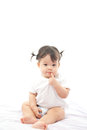 Portrait cute girl baby on white background Royalty Free Stock Image