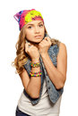 Portrait of cute girl in jeans vest Royalty Free Stock Photo